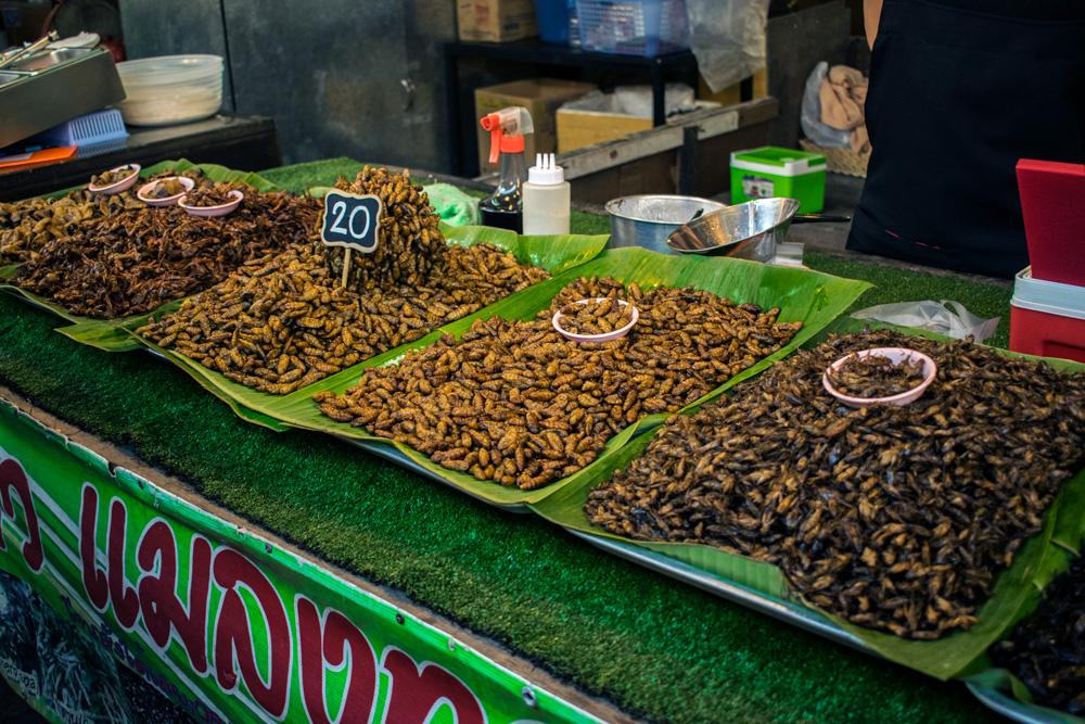 Stand d'insectes sur le marché de Phuket Town en Thaïlande