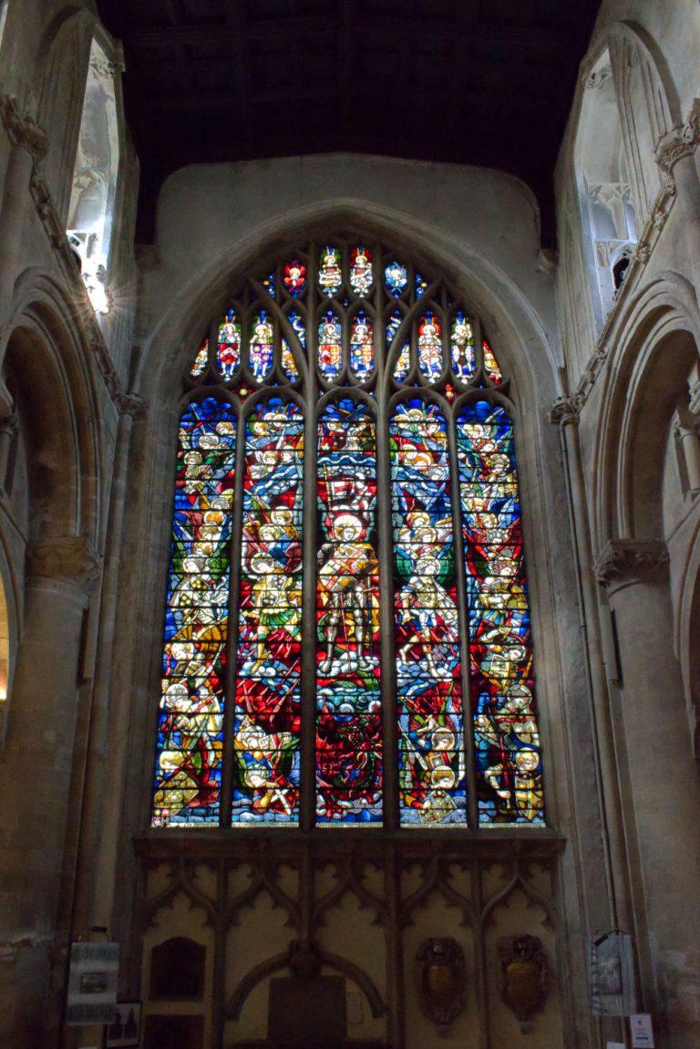 Vitraux vue depuis l'intérieur de l'église d'Oxord University
