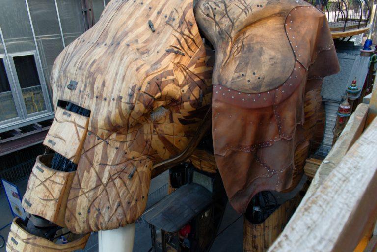 Détail de la tête de l'éléphant des machines de l'île