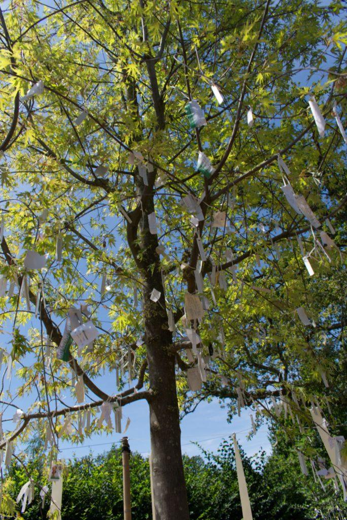 Un arbre avec de petits papiers avec les souhaits des gens dans les jardins de Chaumont
